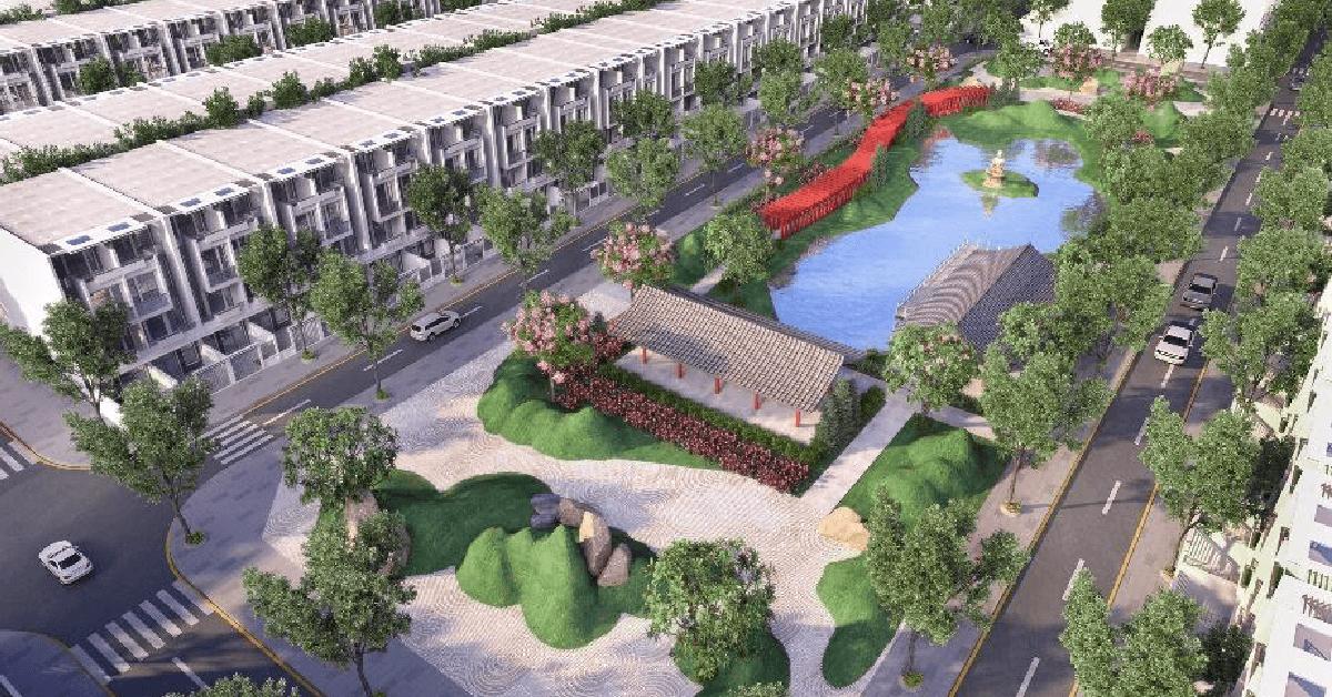 Vườn nhiệt đới theo phong cách Nhật Bản đem lại không gian sống xanh và an lành cho cư dân.